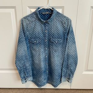 Hinge Denim Button-down Shirt with Polka Dots